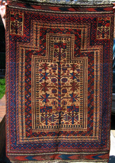 It Has Great Colors, Smooth Shiny Wool, Some Wear Of Possible Use (knees?).  Its Handle Is Not Very Soft And Its Knot Density Is Typical To Baluch Rugs  ( V 9 ...
